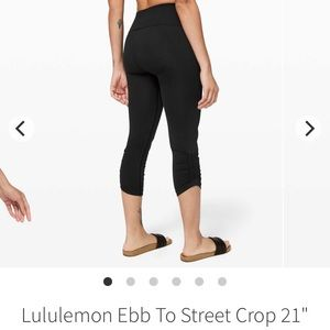 "Lululemon ebb to street crop 21"" BNWT size 6"